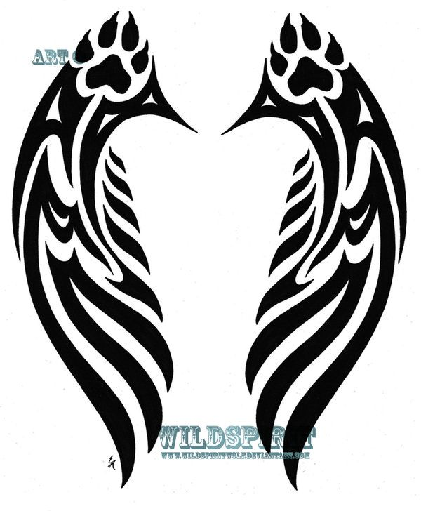Wolf Angel Wings Wings Tattoo Tribal Wings Pawprint Tattoo