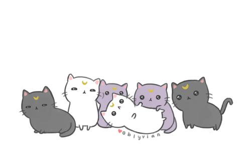 Moon Kitties By Oblyvian Kawaii Cat Cute Drawings Kitty