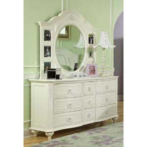 Enchantment Victorian White Dresser And Mirror By Legacy Classic   Wolf  Furniture   Dresser U0026 Mirror