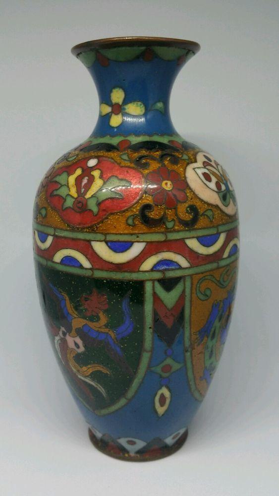Antique Meiji Period Japanese Cloisonne Vase Japanese