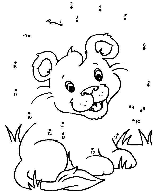 lion_cub_dot_to_dot | Laberintos, Colorear y Hoja
