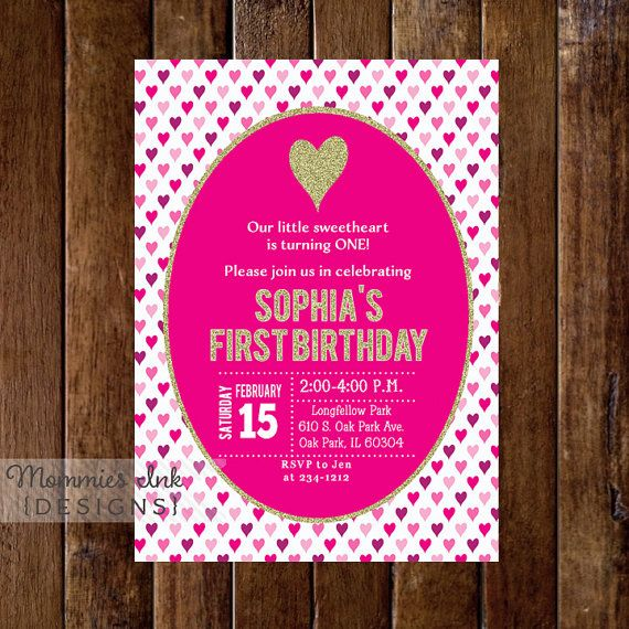 Valentine Heart Birthday Party Invitation Pink by MommiesInk