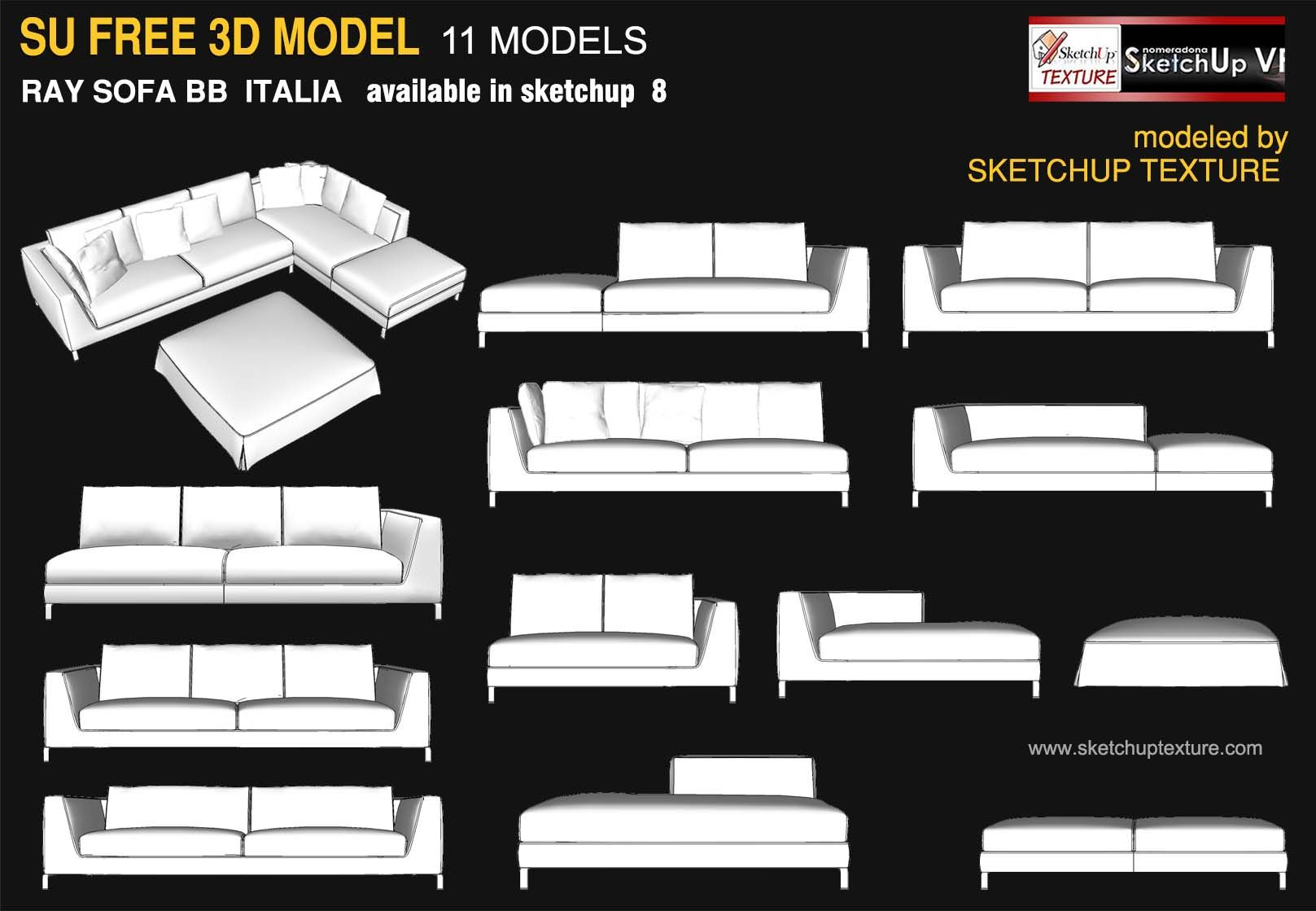 Awesome Free Sketchup 3d Model Ray Sofa BB Italia Furniture