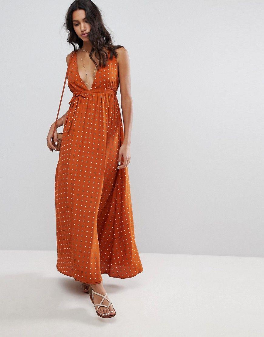 ed151a2a206a Faithfull - Hochwertiges Maxikleid mit Print - Orange Jetzt bestellen unter   https