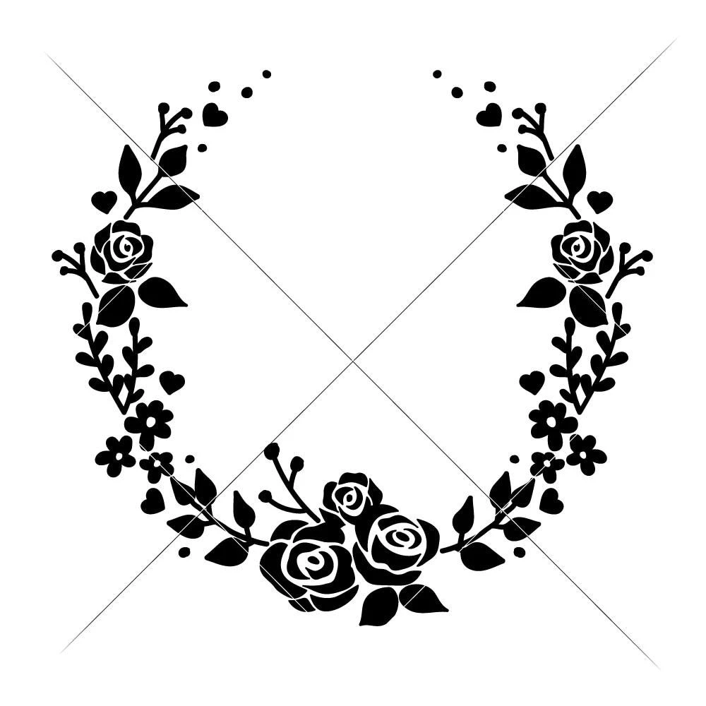 Wreath with Roses open svg png dxf eps Monogram frame