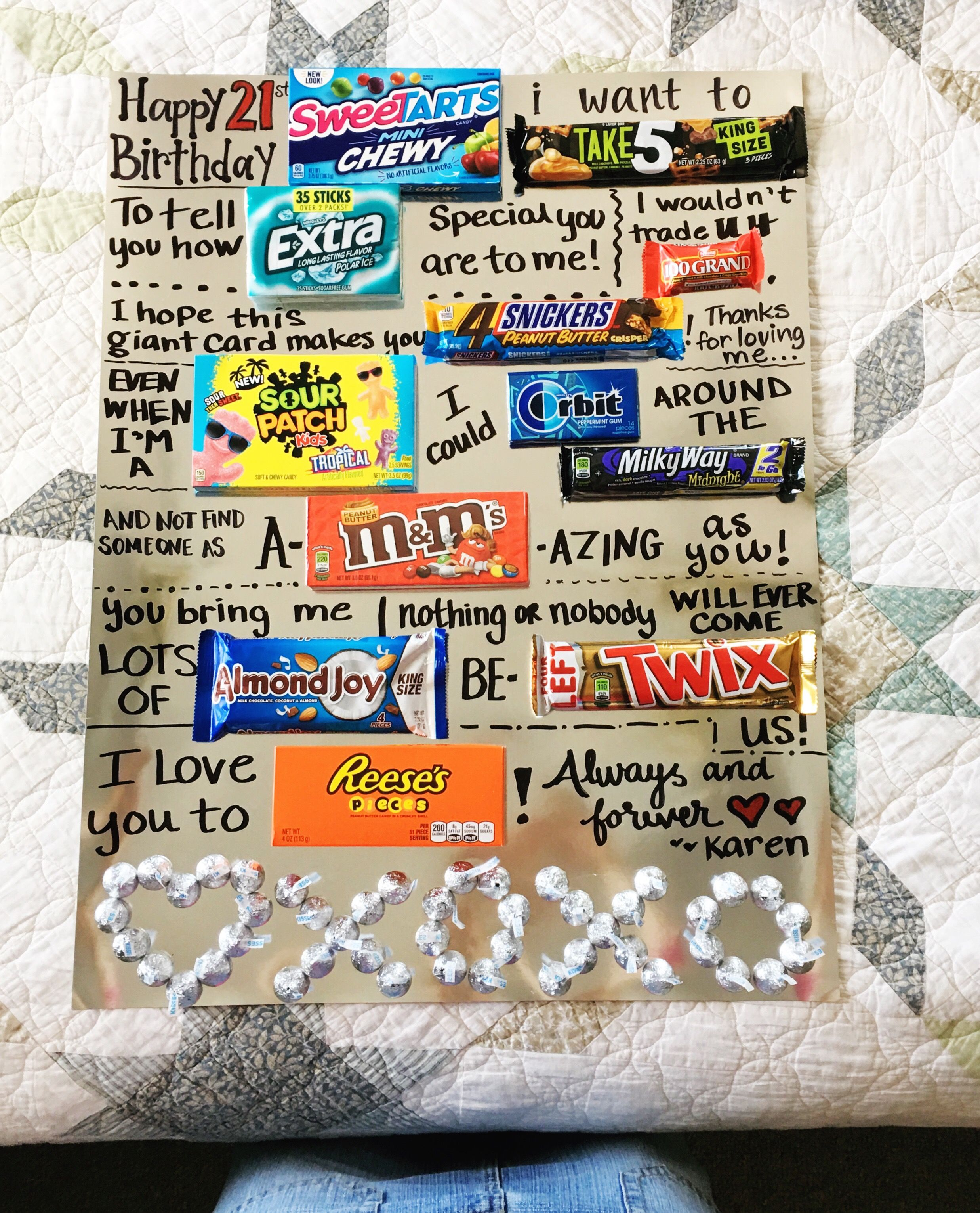 Boyfriend Birthday Gift Giant Card Candy Poster