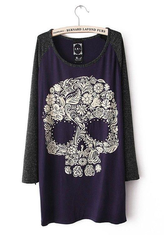Blue Skull Collarless Long Sleeve Cotton Blend T-Shirt