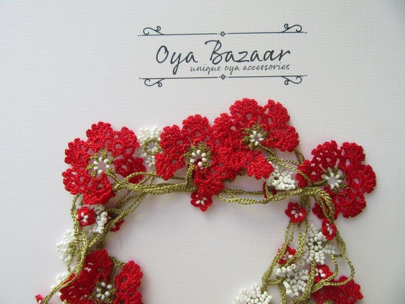 red beaded flower necklace gift for her Turkish Oya necklace Red flower necklace for women