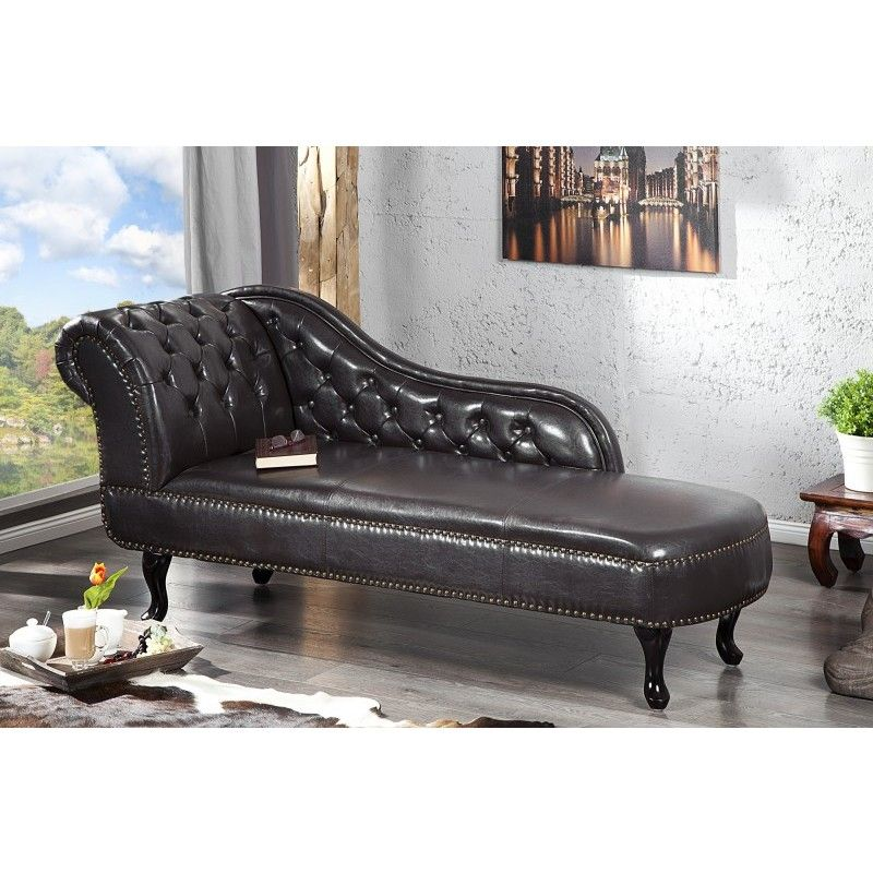 Chaise Longue Recamiere Chesterfield 137cm Dark Coffee - 10942 ...