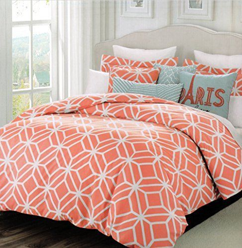 image result for orange and gray geometric bedding