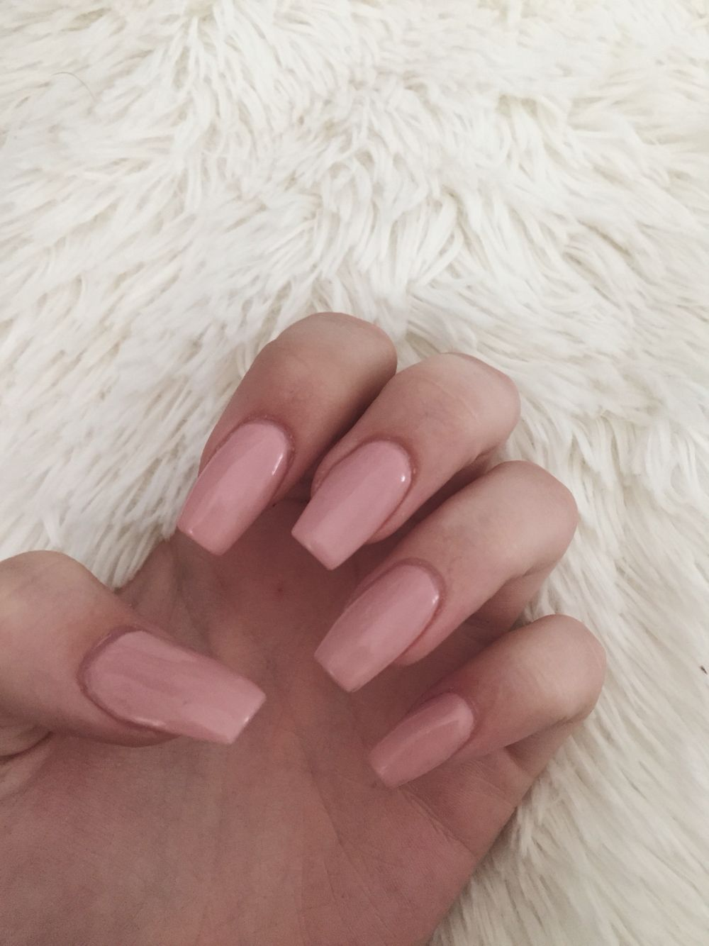 Acrylic Nails Light Pink Baby Coffin Nude