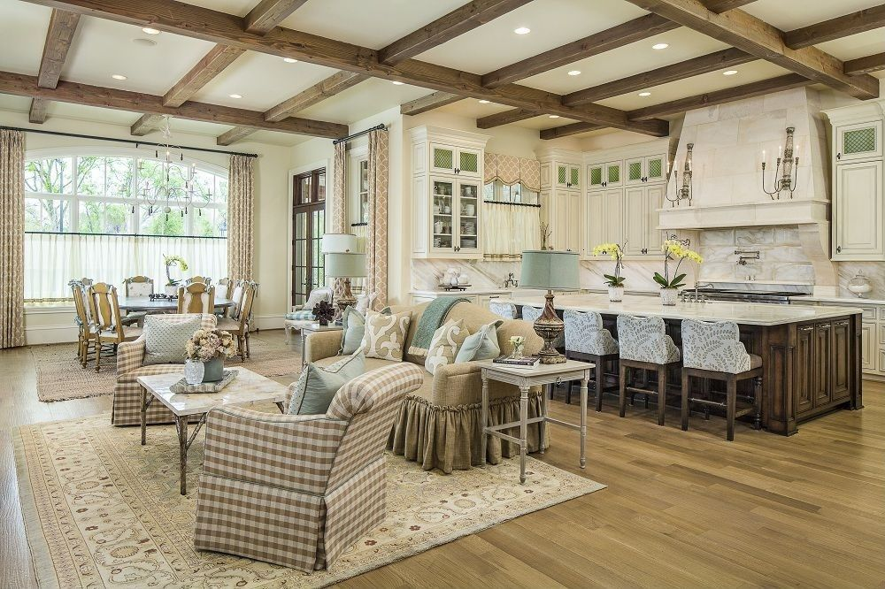 Craftsman Great Room With Open Concept Can Lights Wildon Home Chair Hardwood Floors Transom Window Standard Height