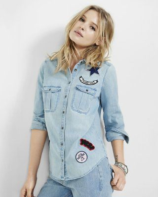 c51f31152c embroidered fitted denim shirt from EXPRESS
