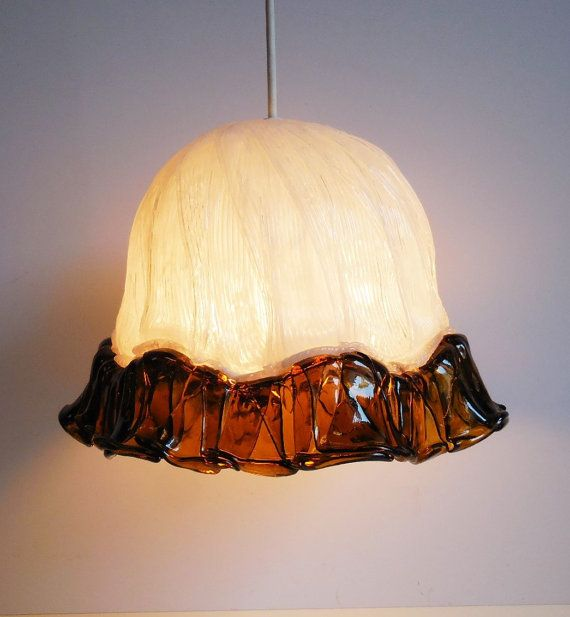 Vintage  Pendant Light Lucite handcrafted White by SalvageRelics