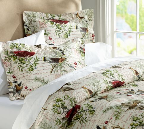 winter bird duvet cover u0026 sham pottery barn