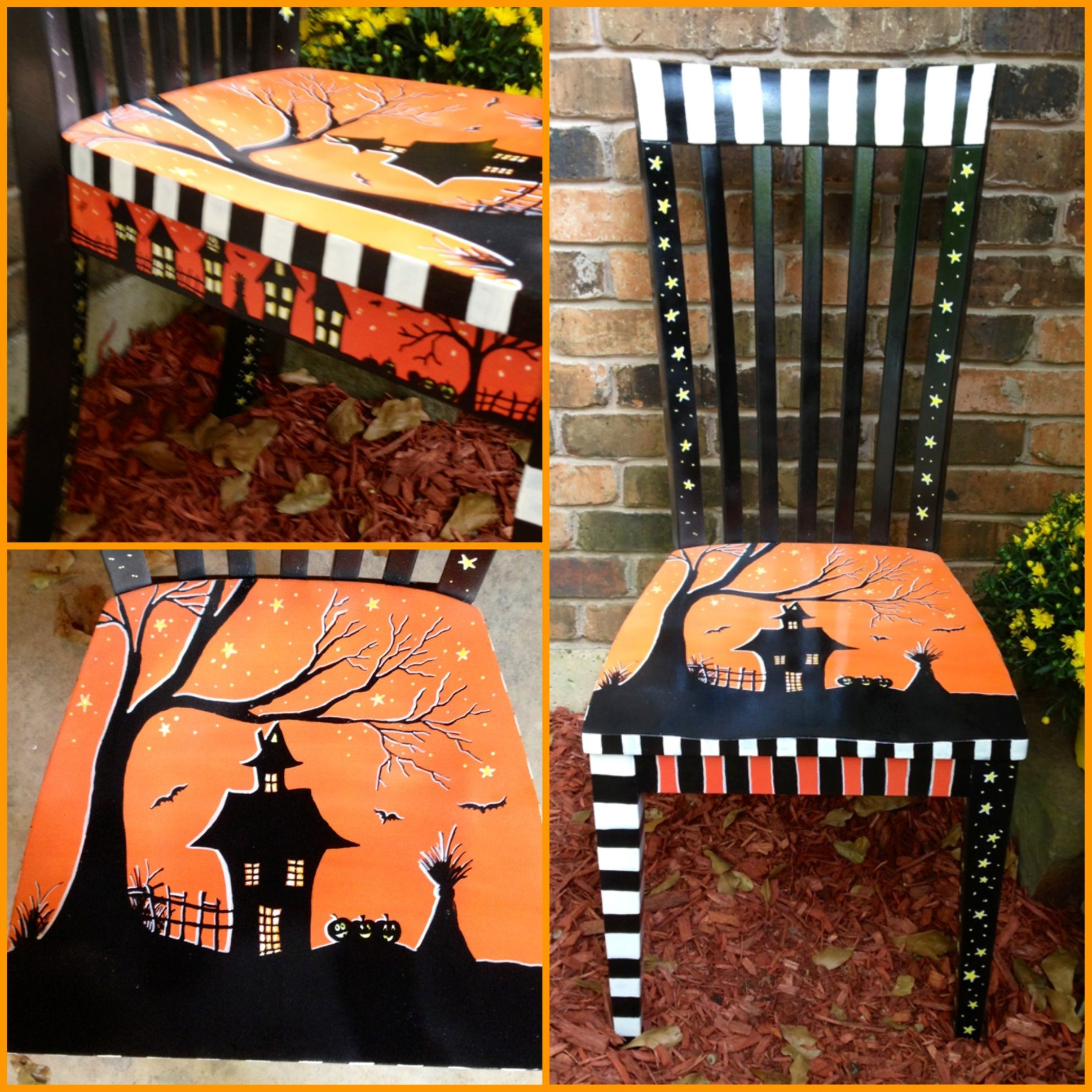 a halloween chair that i painted to sell at my booth for halloween - Scooby Doo Halloween Decorations