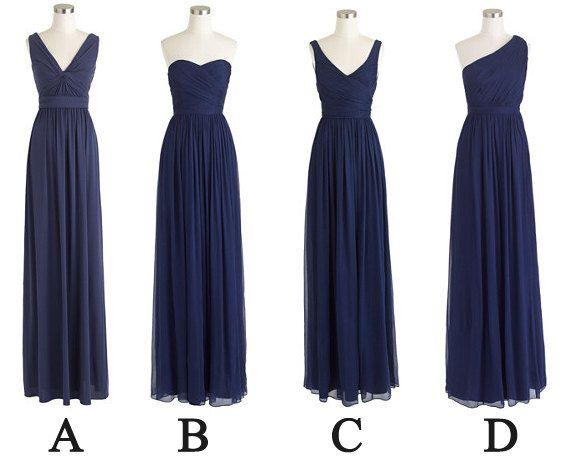 Blue Wedding Dress Simple : Simple a line navy blue chiffon long bridesmaid dresses dark