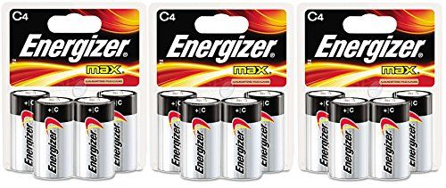 Amazon Com Energizer Max C4 C Cell Alkaline Battery Total 12 Batteries 3 X 4 Count Packs Health Personal Care Alkaline Battery Energizer Alkaline