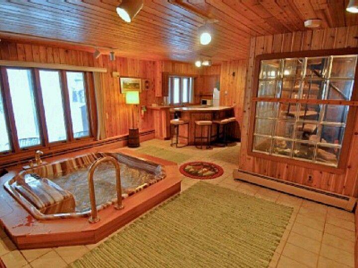 Sunken Tub Mini Bar Food Area Lots Of Windows Indoor Hot Tub Hot Tub Room Hot Tub Bar