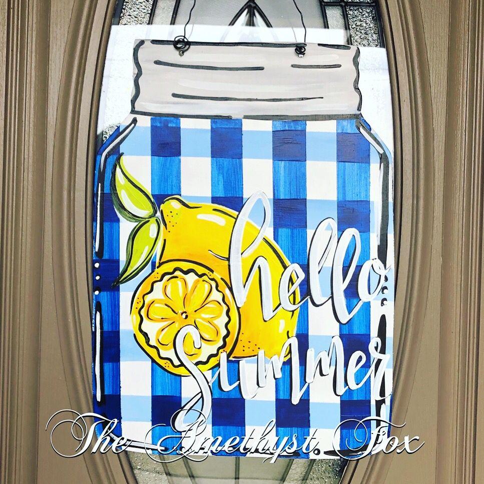 Mason Jar Lemon Buffalo Check Door Hanger Mason Jar Door Hanger Door Hangers Diy