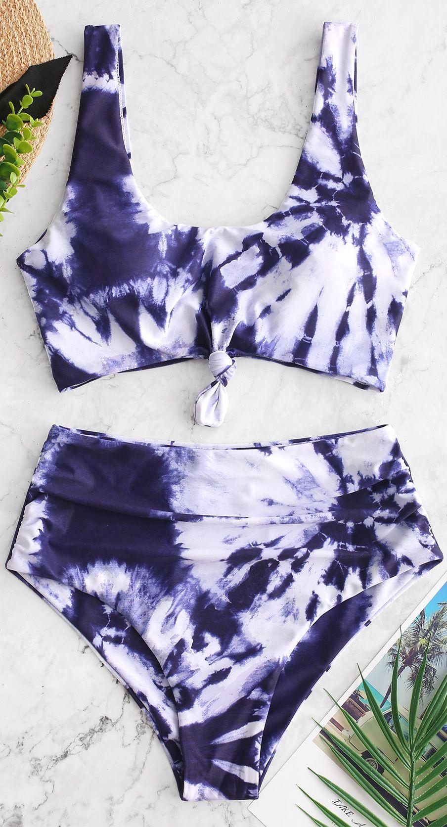 1e9e157126 Tie Dye Knotted Blouson Tankini Swimsuit en 2019 | maillots