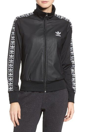 8f14413beb27 Free shipping and returns on adidas Originals Firebird Track Jacket at  Nordstrom.com. Superbly cozy French terry takes on a sleek faux-leather  look in this ...