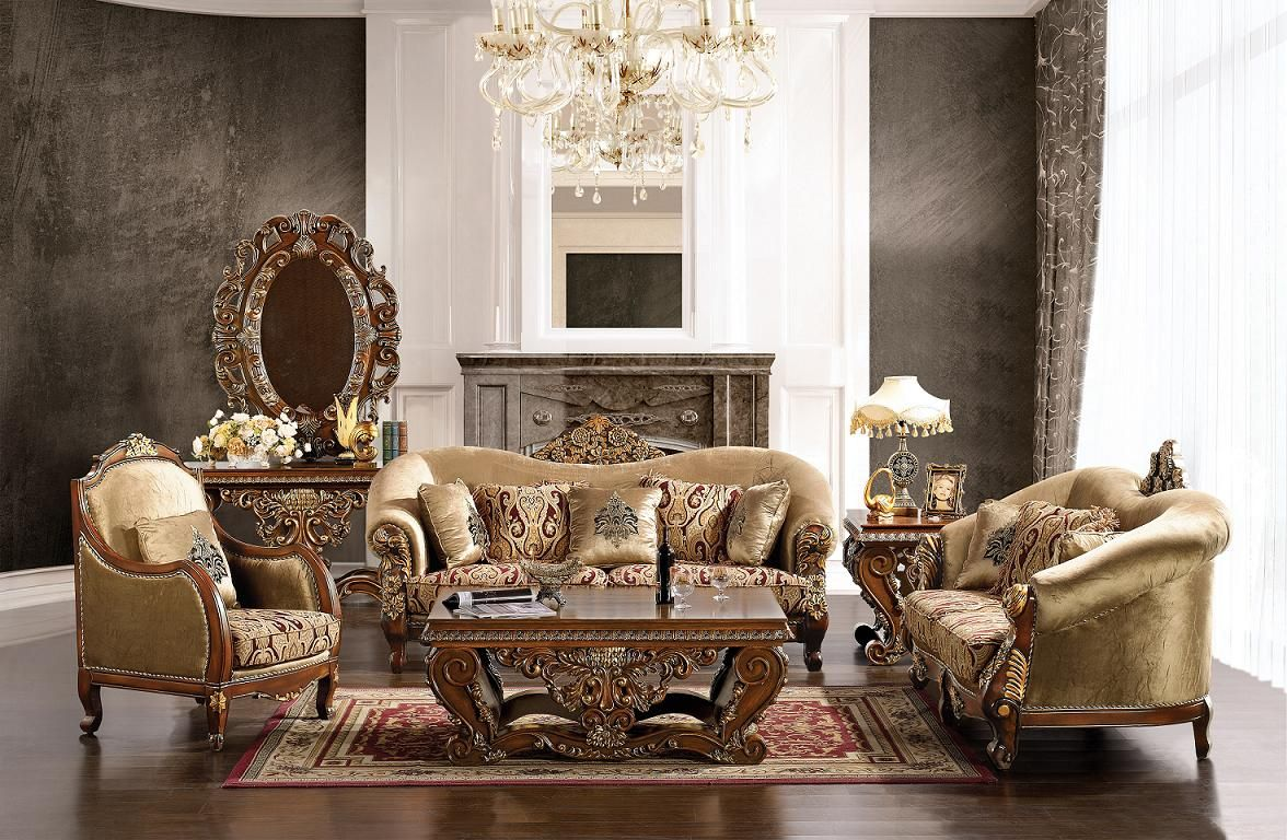 Luxurious Traditional Style Formal Living Room Furniture Set HD 379  shopfactorydirect com