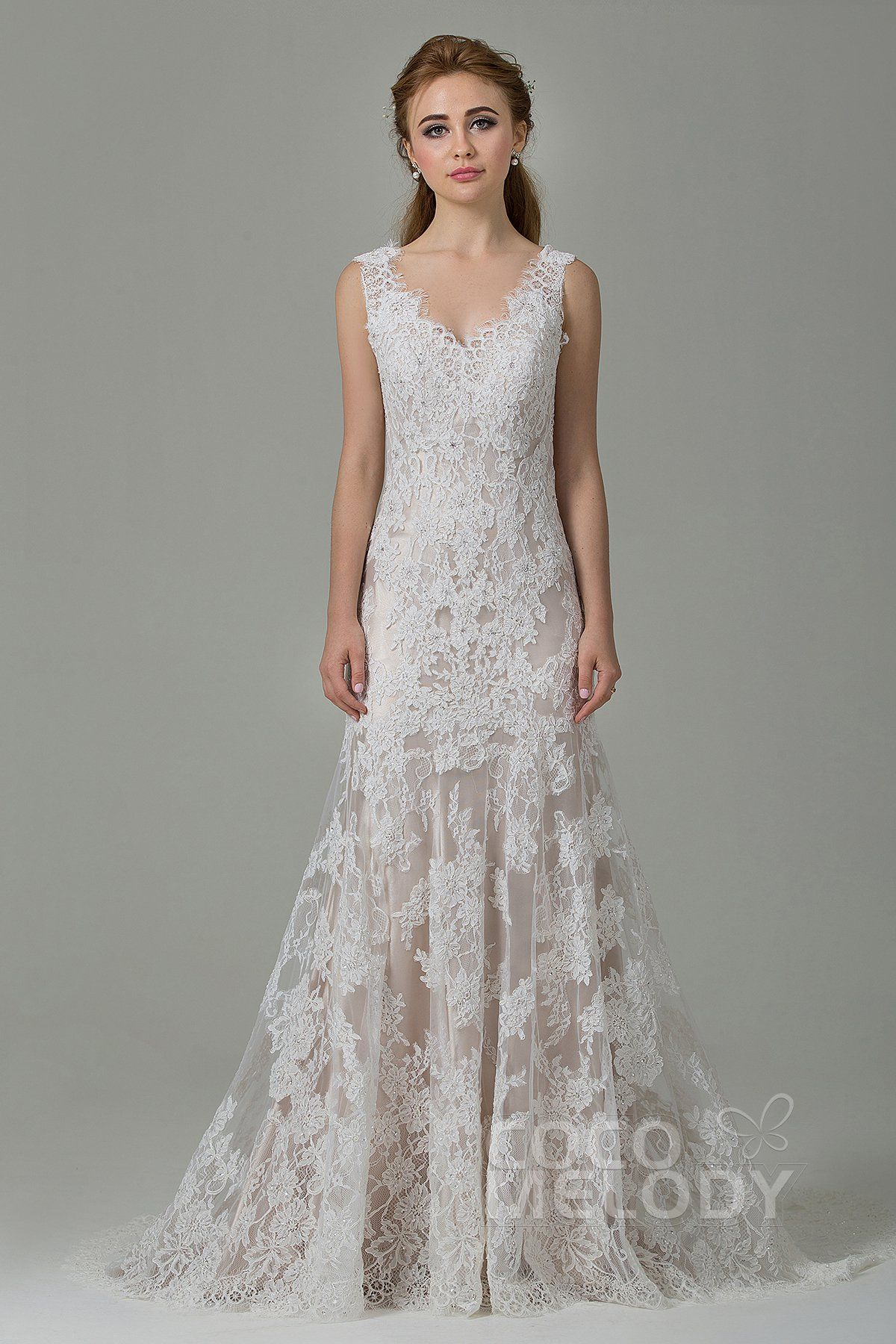 [ USD 499 ] SheathColumn SweepBrush Train Wedding Dress