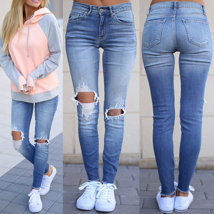 Femme femmes blanc noir slim skinny denim rip genou jeans taille 6-16 plus