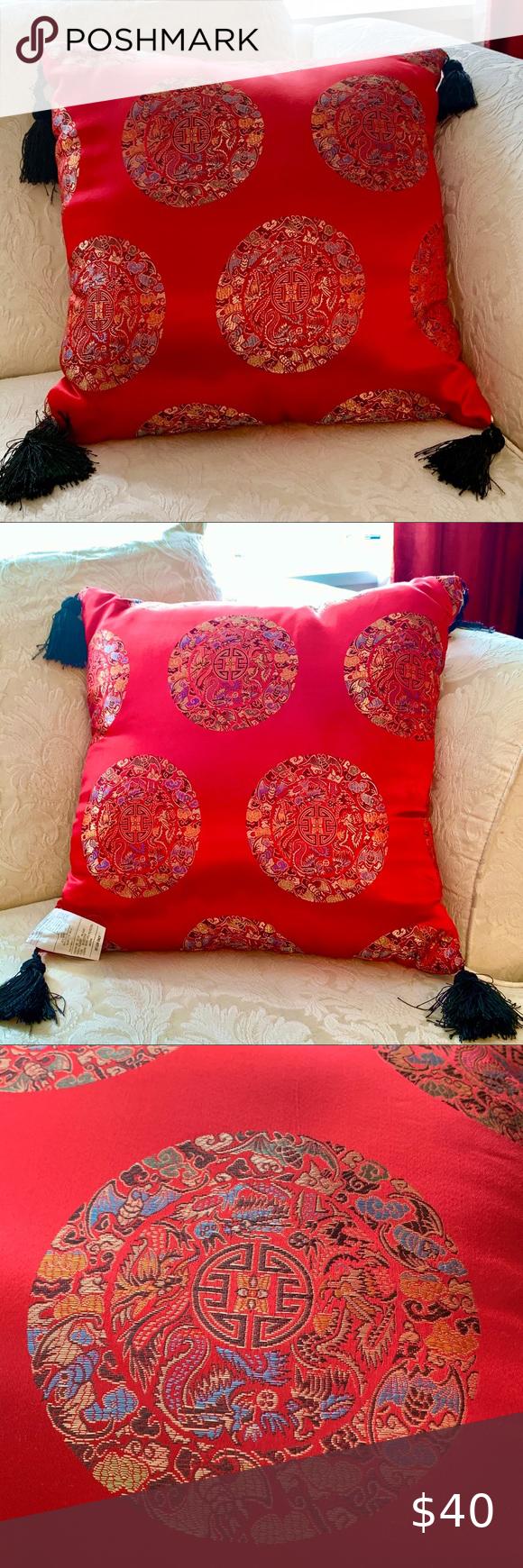 Red Silk Longevity Pillow. This