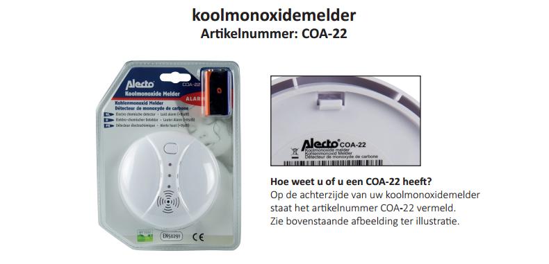 Medemblik - Bij deze koolmonoxidemelder is het risico aanwezig dat het alarm niet tijdig afgaat bij zowel lage als verhoogde concentraties koolmonoxide. Langdurige inademing van koolmonoxide kan le...
