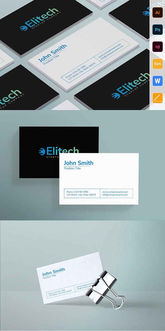 Tech Startup Business Card Business Card Fonts Business Card Template Clear Business Cards
