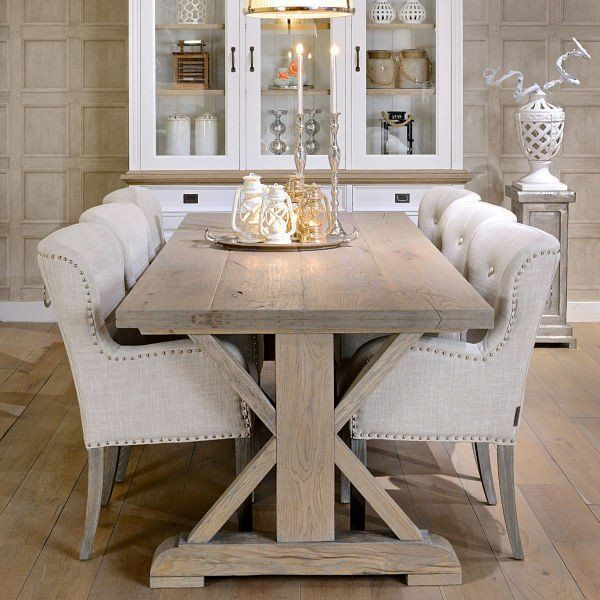 Hoxton Rustic Oak Trestle Dining Table Farmhouse dining