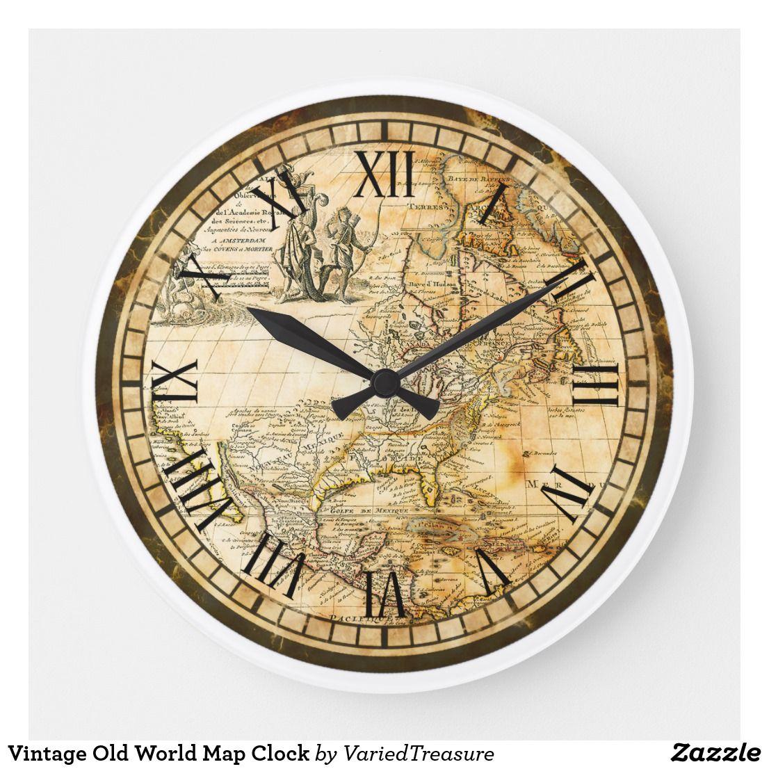 Vintage Old World Map Clock Zazzle Com Old World Maps Old World Clock