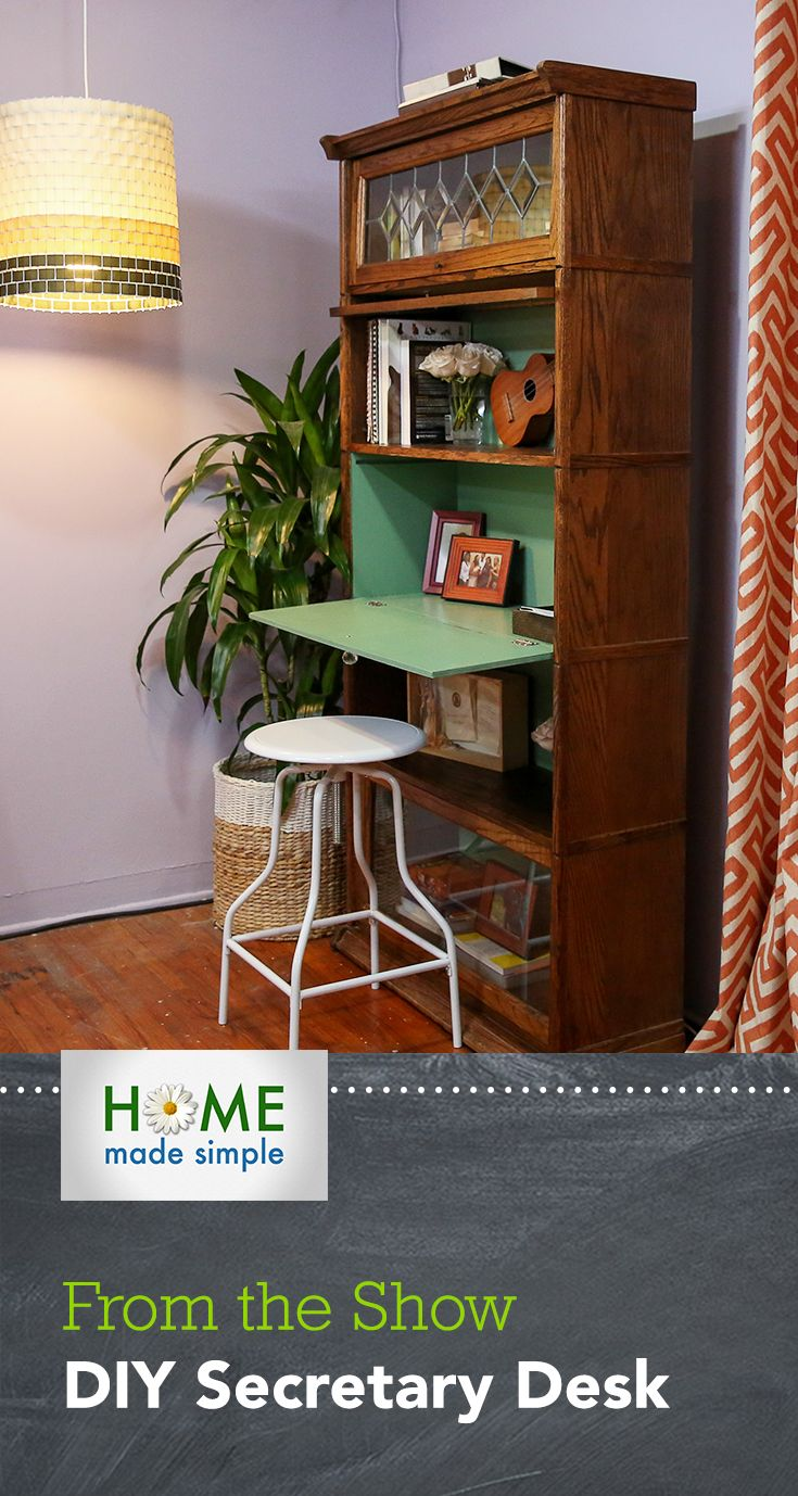 Love The Look Of A Secretary Desk Learn How To Turn Bookcase Into By Adding Foldaway Shelf Watch More Great Projects On Home Made