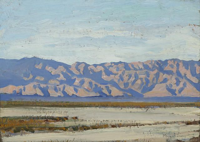 Maynard Dixon (1875-1946) Desert expanse; Nude study (double-sided) 10 x 14in overall: 12 x 16in (Painted in 1926)