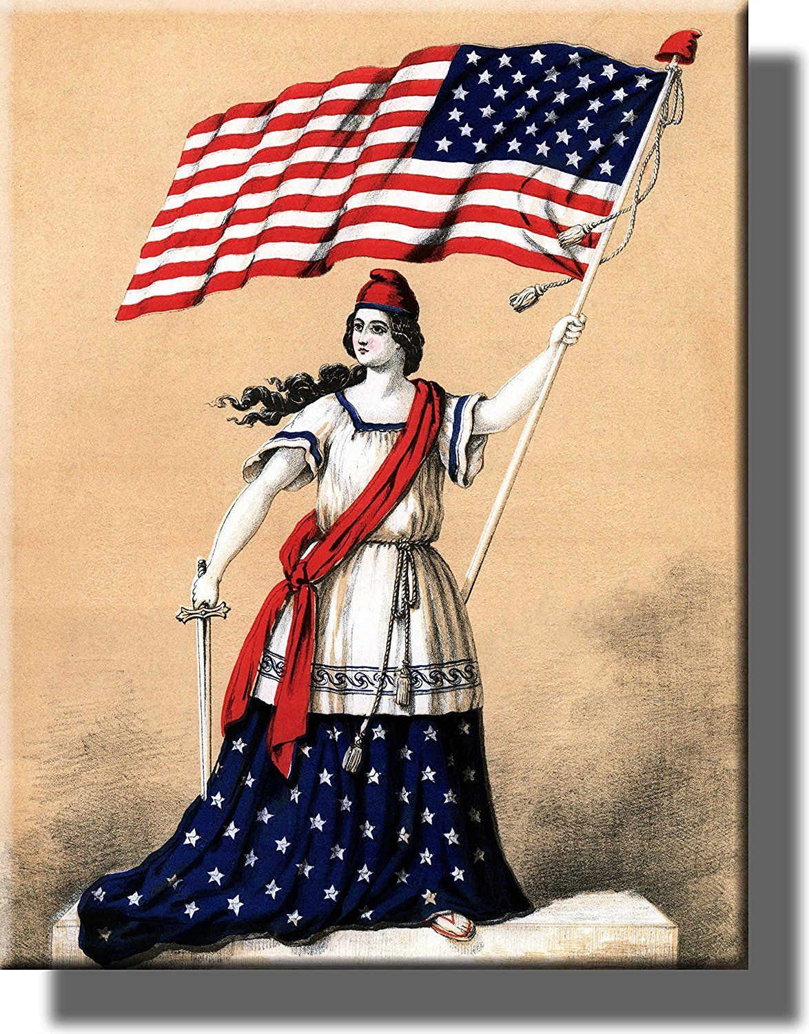 American Woman Holding Flag Picture on Acrylic , Wall Art Décor ...