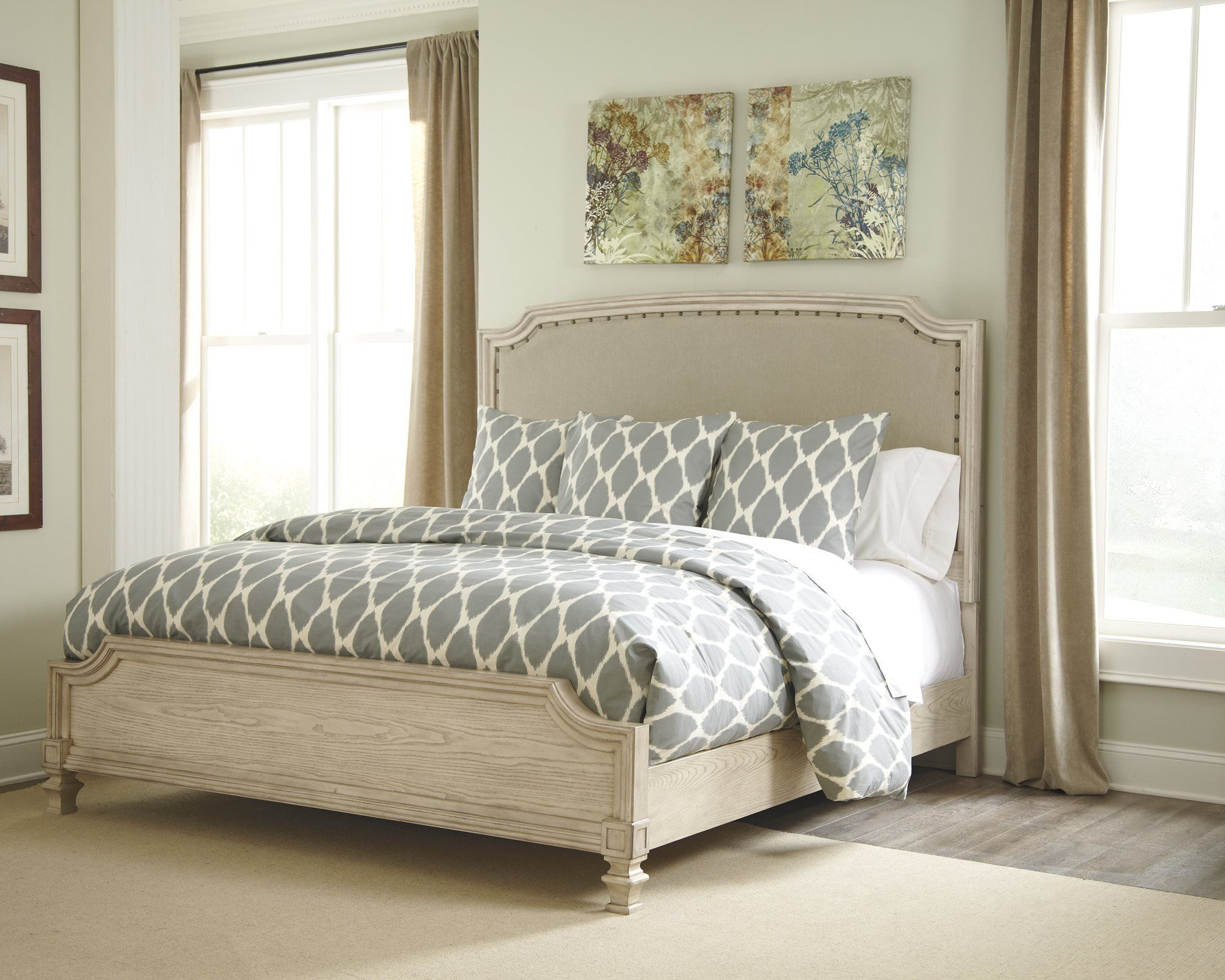 ashley demarlos queen upholstered bed in parchment white you can