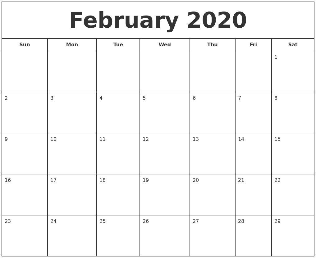 February 2020 Printable Calendar Di 2020