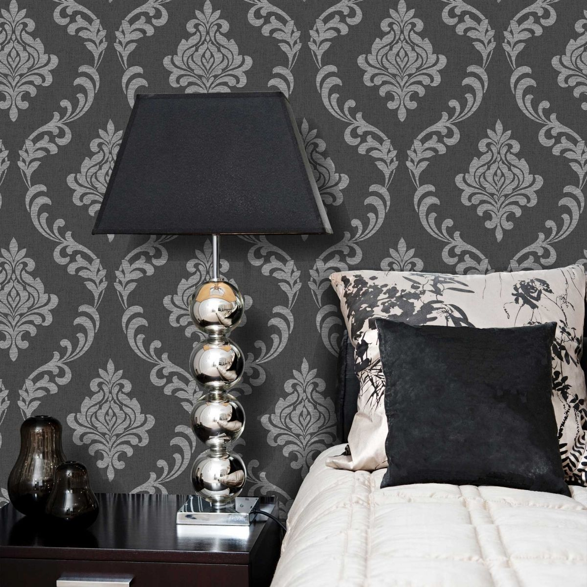 torino black and grey damask wallpaper 22 cotton fields