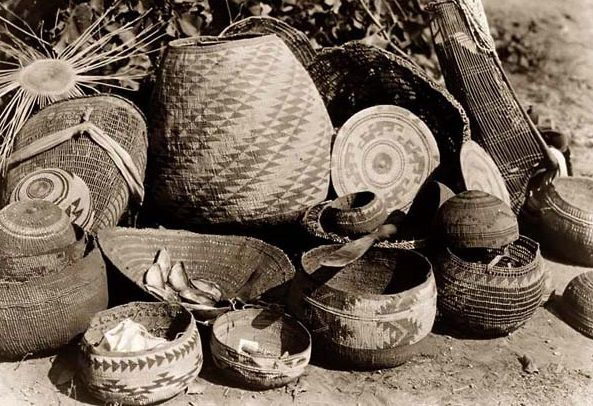 Baskets of many shapes and size made from plants