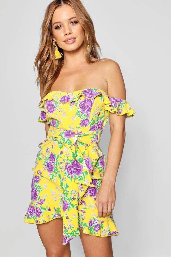 3ab661112680 Petite Floral Bardot Tie Waist Mini Dress | Products | Dresses ...
