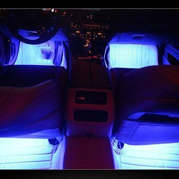 4 Pcs Underdash LED Lighting Kit - Plug and Play with Car