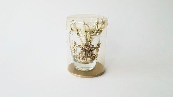 1960's Vintage Disneyland Shot Glass w/Sword Picks In Original Packaging- Walt Disney Productions #disneylandfood