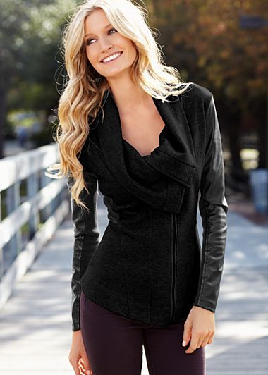 Black faux leather sleeve sweater winter coat for women | fall ...
