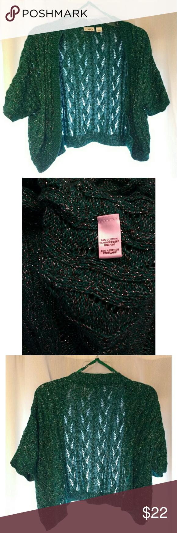 Cato emerald green shrug sweater, size large | Shrug sweater ...