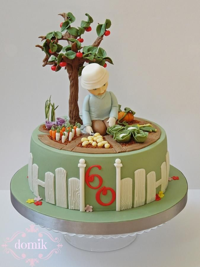 keen gardener created for my friends father who turned 60 last week he loves working in his garden so the design of the cake was - Garden Design Birthday Cake