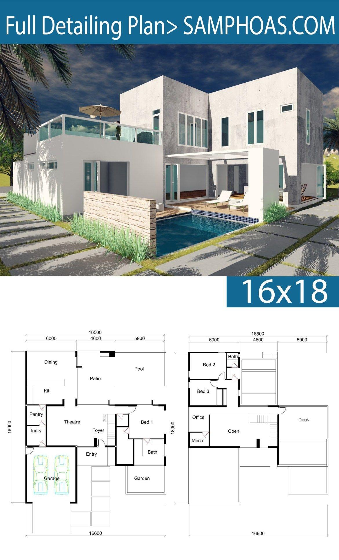 3 Bedrooms Villa Design 16x18m Samphoas Plansearch Villa Design Architectural House Plans Modern House Plans