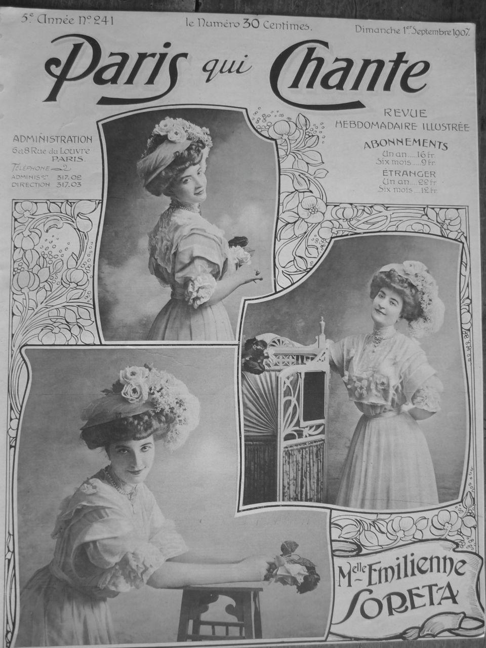 """1900s Fashion Hat. """"Paris qui Chante"""" September 1907  Emilienne Soreta"""