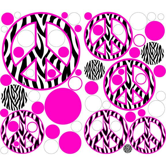 Zebra Stripe Pink Peace Sign Kids Room Zebra Stripe Peace Signs - Zebra stripe wall decals